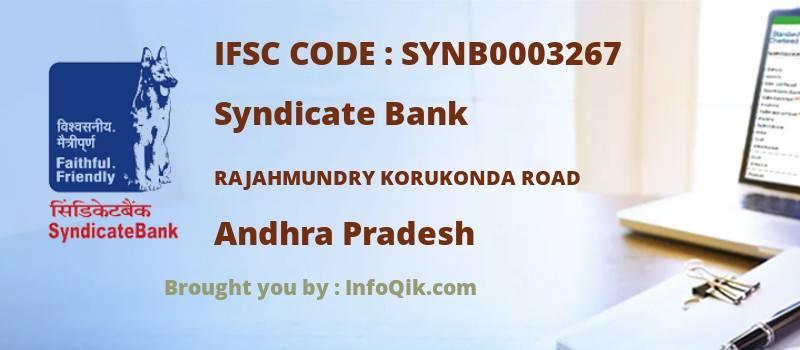 Syndicate Bank Rajahmundry Korukonda Road, Andhra Pradesh - IFSC Code
