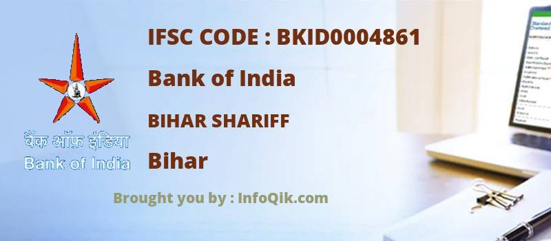 Bank of India Bihar Shariff, Bihar - IFSC Code