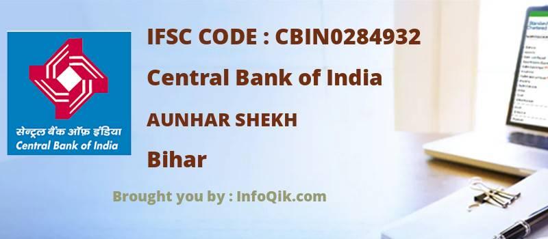 Central Bank of India Aunhar Shekh, Bihar - IFSC Code