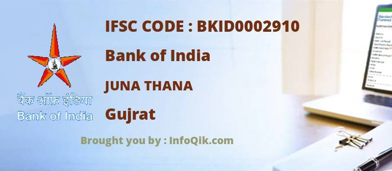 Bank of India Juna Thana, Gujrat - IFSC Code