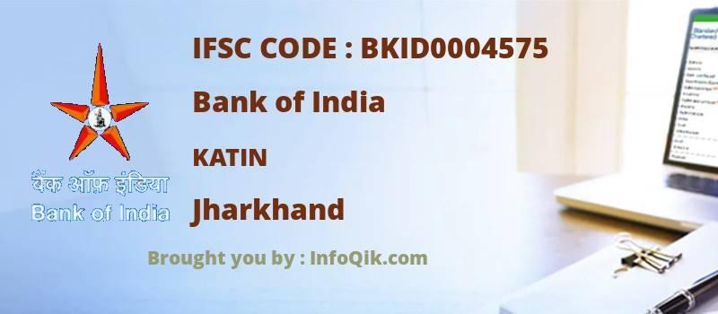 Bank of India Katin, Jharkhand - IFSC Code