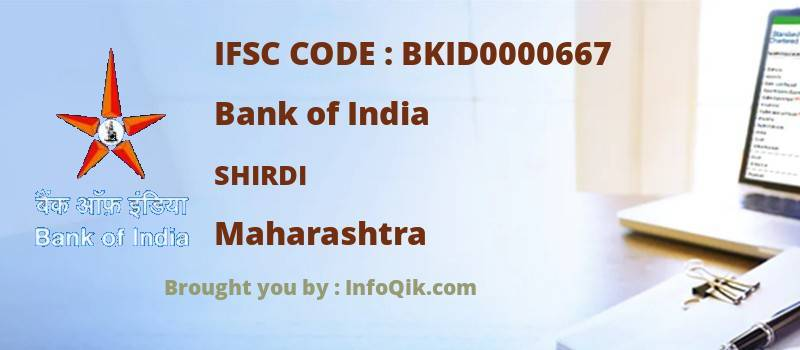 Bank of India Shirdi, Maharashtra - IFSC Code