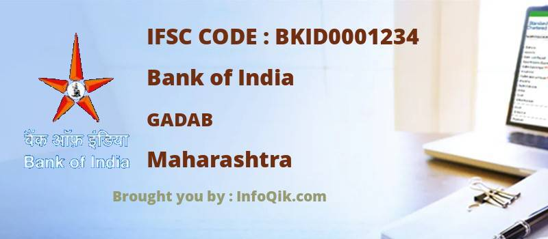 Bank of India Gadab, Maharashtra - IFSC Code