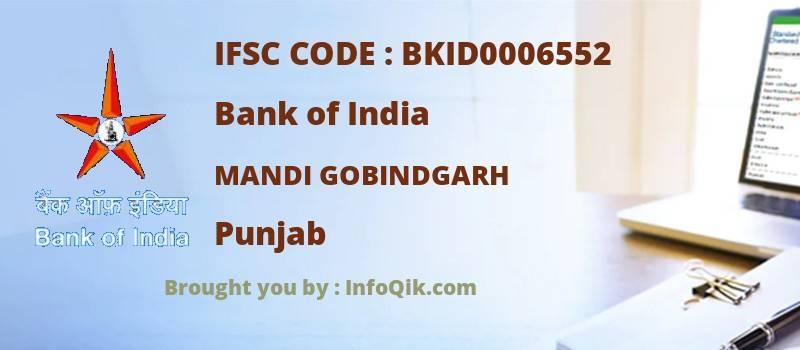 Bank of India Mandi Gobindgarh, Punjab - IFSC Code