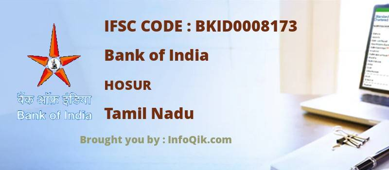 Bank of India Hosur, Tamil Nadu - IFSC Code