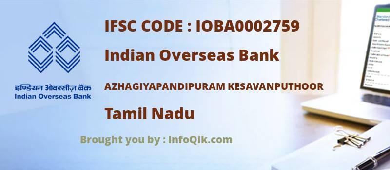 Indian Overseas Bank Azhagiyapandipuram Kesavanputhoor, Tamil Nadu - IFSC Code